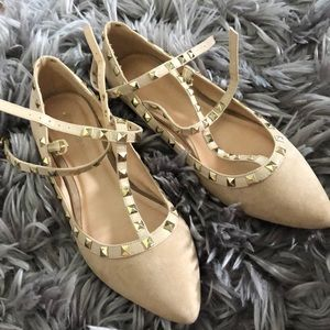 Studded Gold/ Tan Pointed Toe Ballet Flats